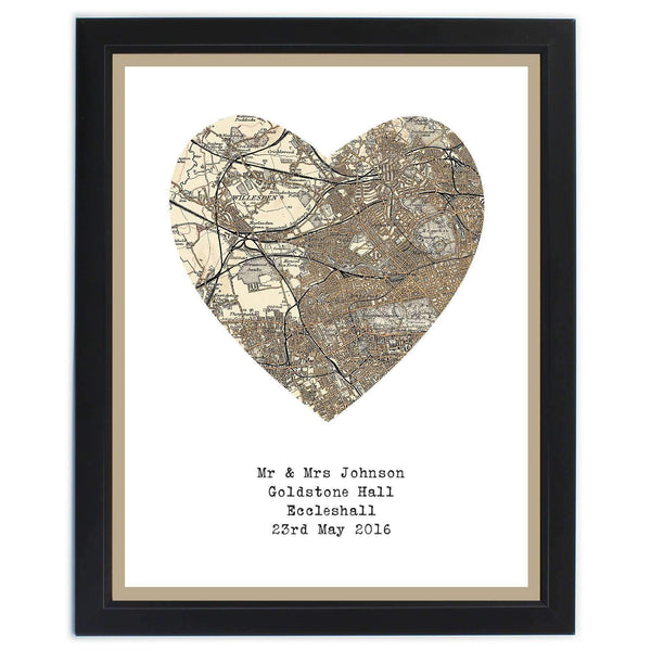 Personalised 1896 - 1904 Revised Map Heart Framed Print