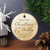 Personalised 1st Christmas 'As My...' Round Ceramic Decoration