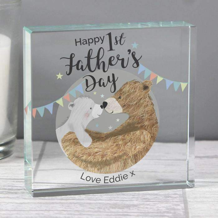 Personalised 1st Father's Day Daddy Bear Large Crystal Token