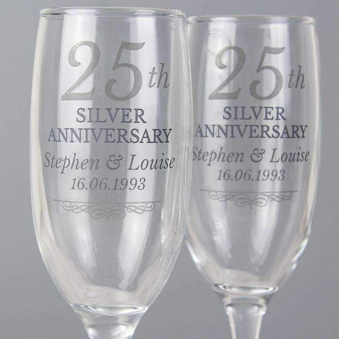 Personalised 25th Silver Anniversary Pair of Flutes With Gift Box