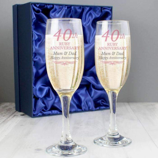 Personalised 40th Ruby Anniversary Pair of Flutes With Gift Box