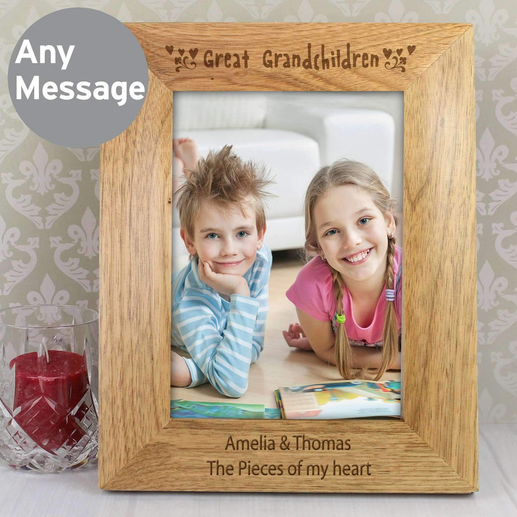 Personalised 5x7 Great Grandchilden Wooden Photo Frame