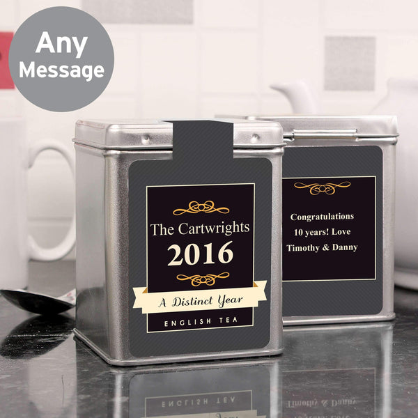 Personalised A Distinct Year Tea & Tin