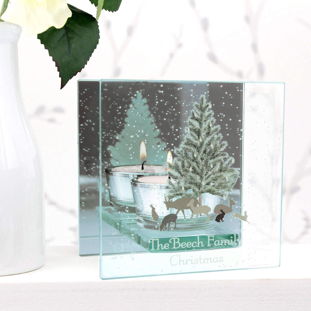 Personalised A Winter's Night Mirrored Glass Tea Light Holder Memento