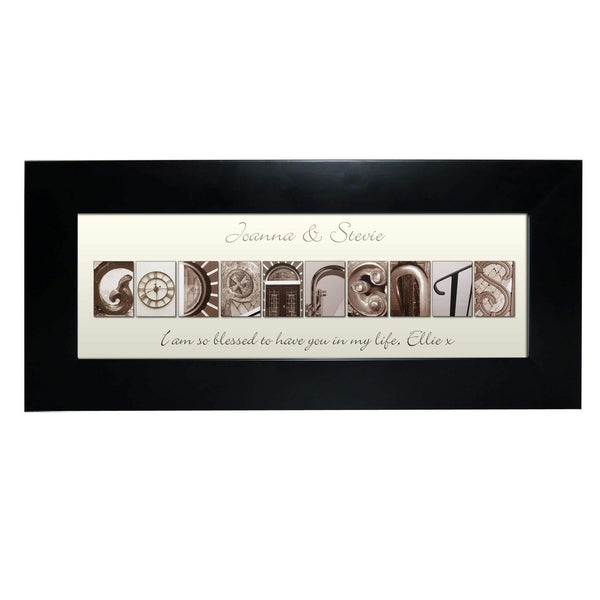 Personalised Affection Art Godparents Black Frame