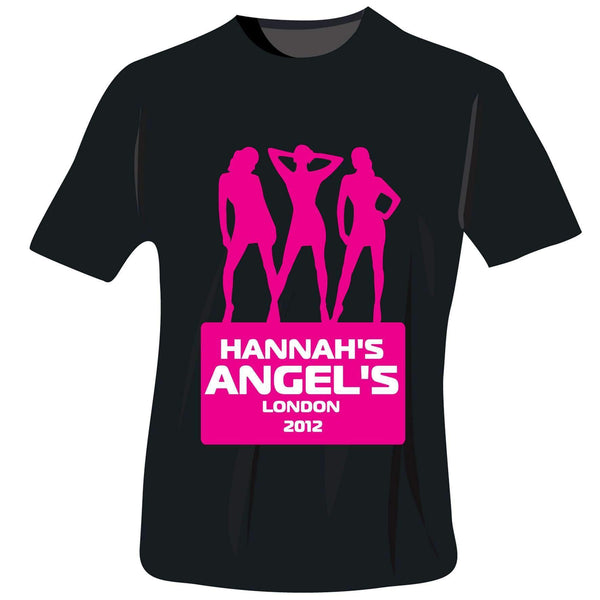 Personalised Angels Hen Do T-Shirt - Black - Large