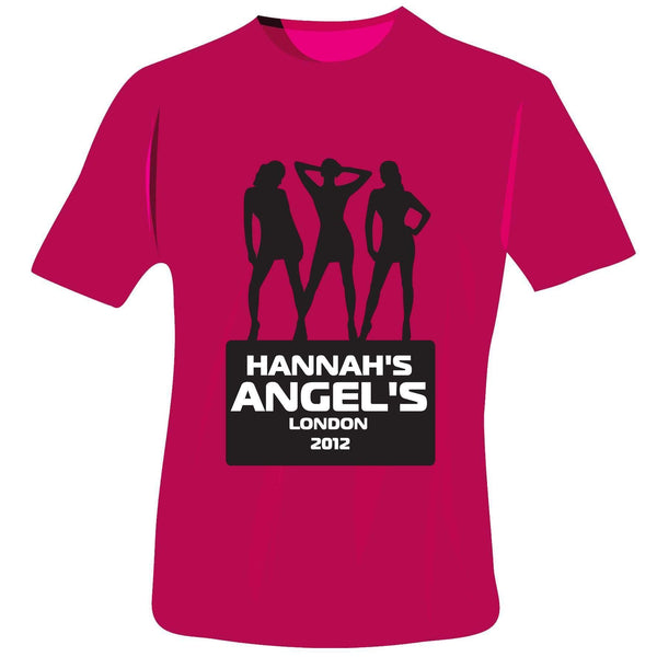 Personalised Angels Hen Do T-Shirt - Fuchsia Pink - Medium