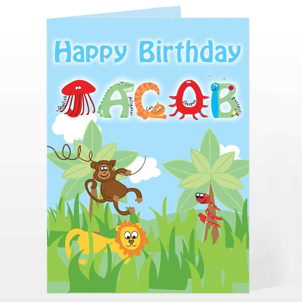Personalised Animal Alphabet Card Memento