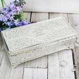 Personalised Antique Silver Plated Jewellery Box Memento