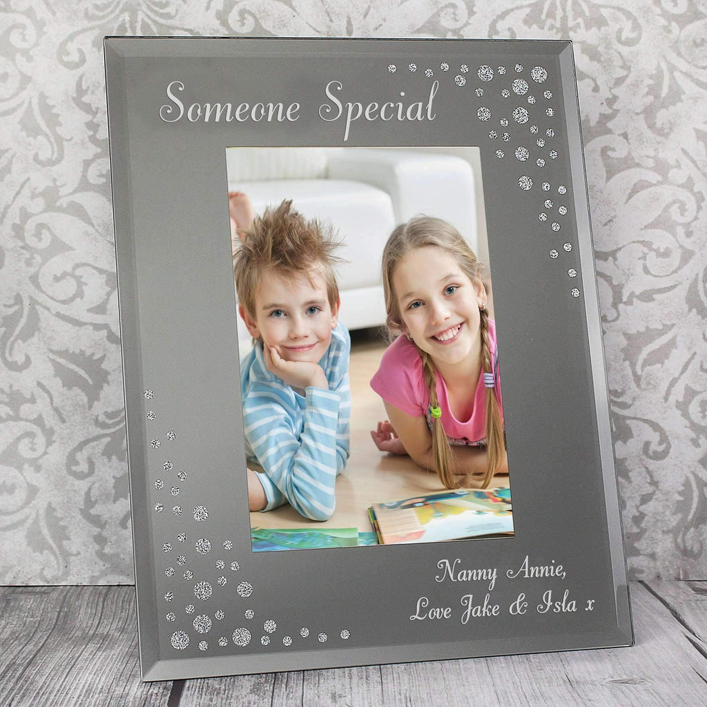 Personalised Any Message Diamante 4x6 Portrait Glass Photo Frame Memento