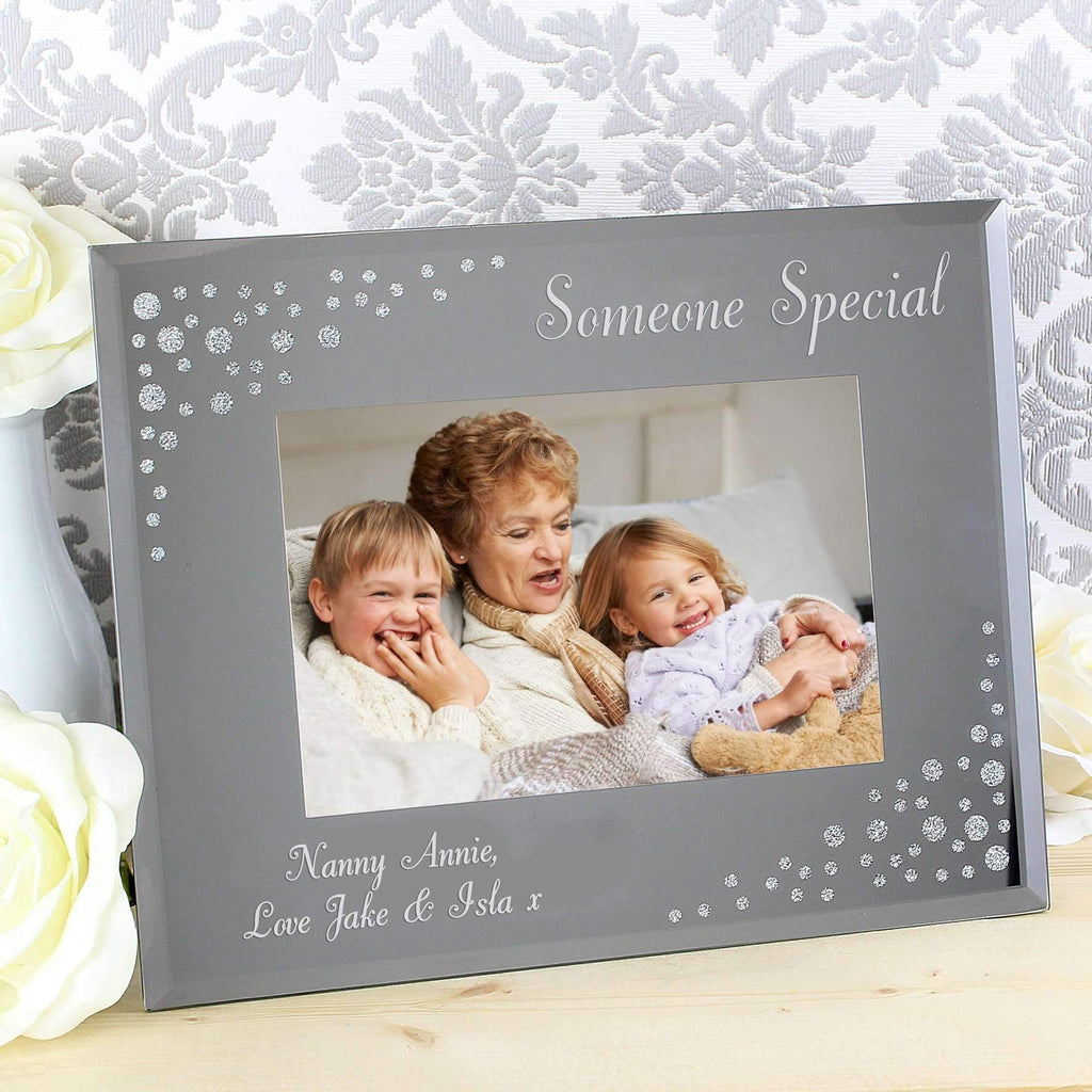Personalised Any Message Diamante Landscape 6x4 Glass Photo Frame ...