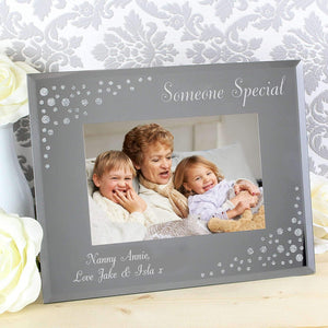 Personalised Any Message Diamante Landscape 6x4 Glass Photo Frame
