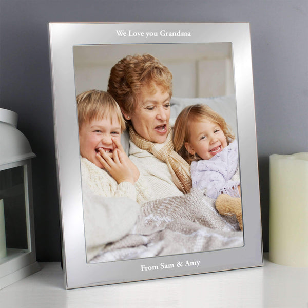 Personalised Any Message Silver 8x10 Photo Frame