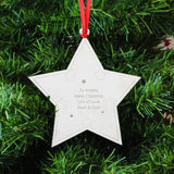 Personalised Any Message Star Tree Decoration Memento