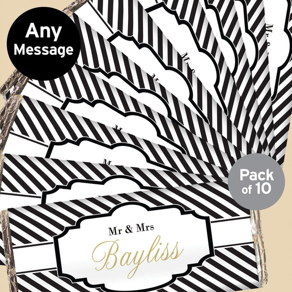 Personalised Art Deco Striped Pack of 10 Milk Chocolate Bars