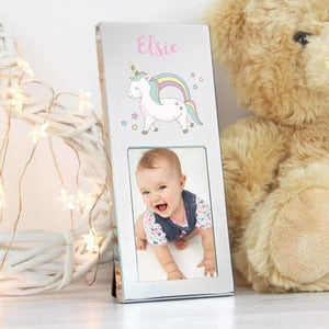 Personalised Baby Unicorn 2x3 aluminium photo frame