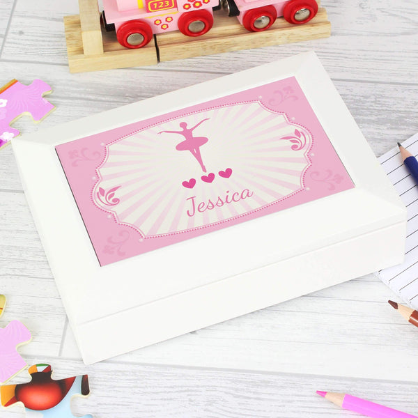 Personalised Ballerina White Jewellery Box
