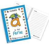 Personalised Bang On The Door Animal Alphabet Boys A5 Notebook