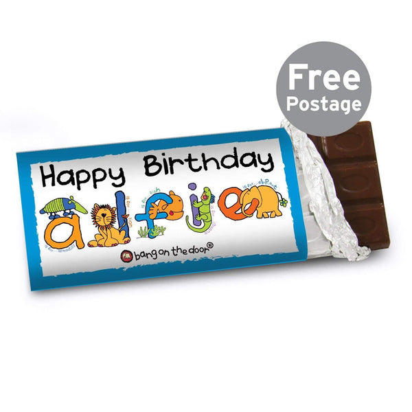 Personalised Bang On The Door Animal Alphabet Boys Milk Chocolate Bar