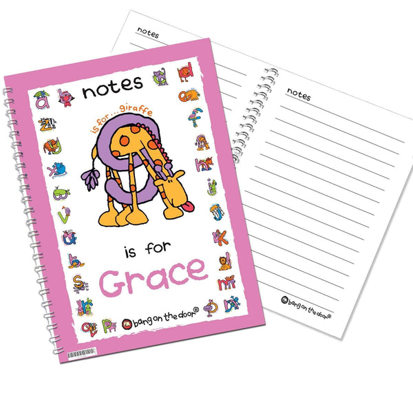 Personalised Bang On The Door Animal Alphabet Girls A5 Notebook