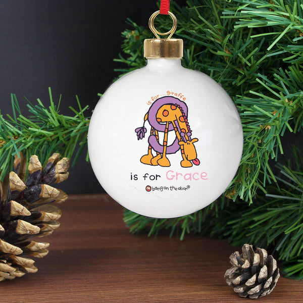 Personalised Bang On The Door Animal Alphabet Girls Bauble