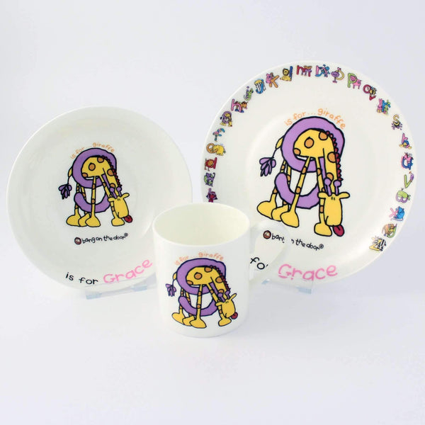 Personalised Bang On The Door Animal Alphabet Girls Breakfast Set