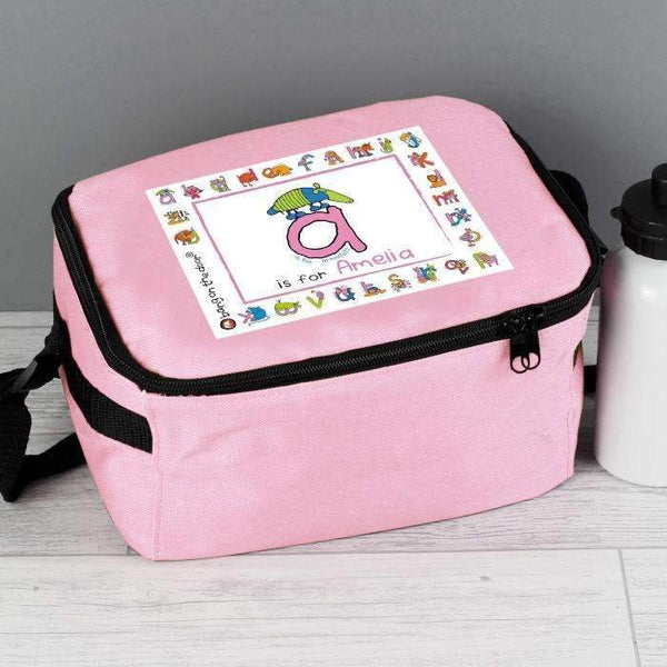 Personalised Bang On The Door Animal Alphabet Girls Lunch Bag