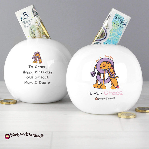 Personalised Bang On The Door Animal Alphabet Girls Money Box