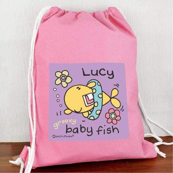 Personalised Bang On The Door Baby Fish Girls Swim & Kit bag