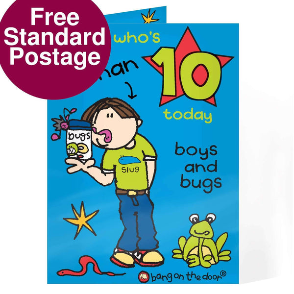 Personalised Bang on the Door Boys and Bugs Age Card