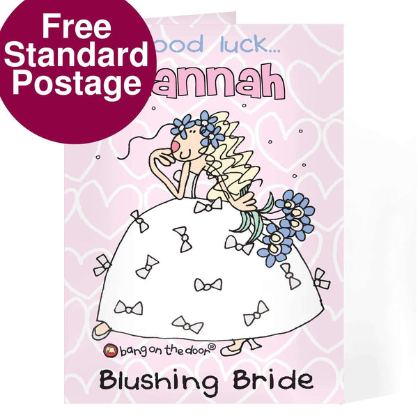 Personalised Bang On The Door Bride Card