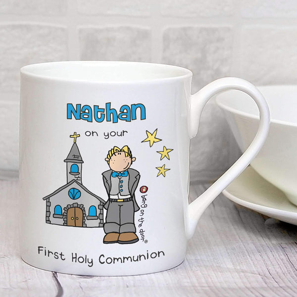 Personalised Bang On The Door First Holy Communion Boys Balmoral Mug