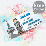 Personalised Bang On The Door First Holy Communion Boys Milk Chocolate Bar