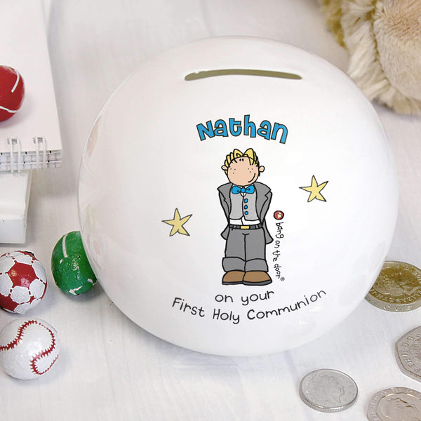 Personalised Bang On The Door First Holy Communion Boys Money Box