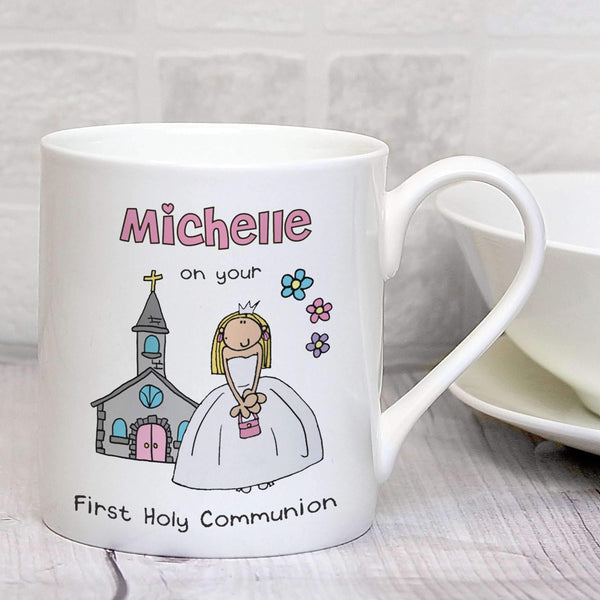 Personalised Bang On The Door First Holy Communion Girls Balmoral Mug