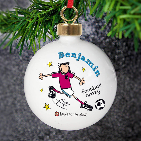 Personalised Bang on the Door Football Crazy Bauble