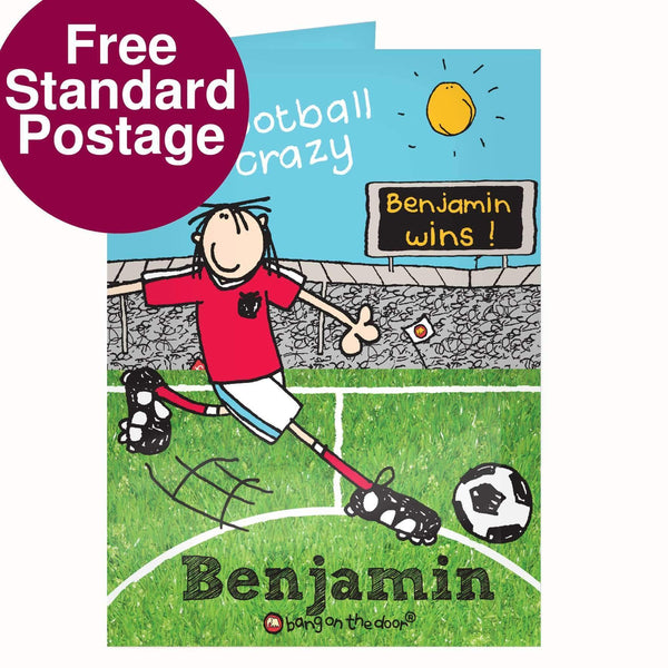 Personalised Bang on  the Door Football Crazy Card