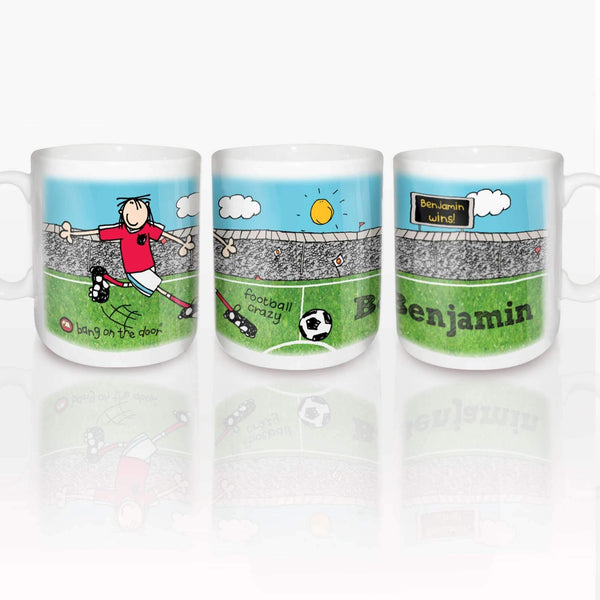 Personalised Bang On The Door Football Crazy Mug