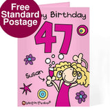 Personalised Bang On The Door Happy Birthday card