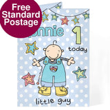 Personalised Bang on the Door Little Guy Age Card