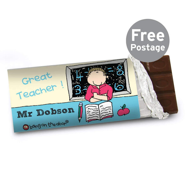 Personalised Bang On The Door Male Teacher Milk Chocolate Bar