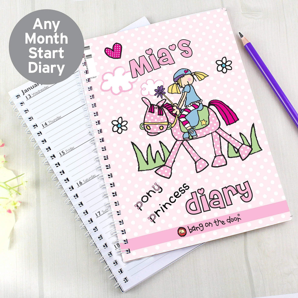 Personalised Bang on the Door Pony Girl A5 Diary