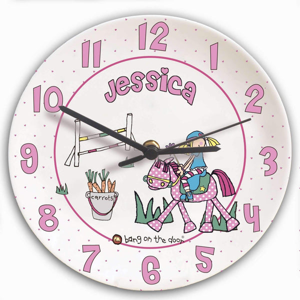 Personalised Bang on the Door Pony Girl Clock