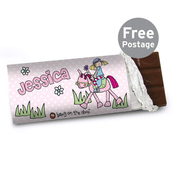 Personalised Bang on the Door Pony Girl Milk Chocolate Bar