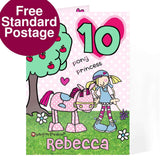 Personalised Bang On The Door Pony Princess Age Card
