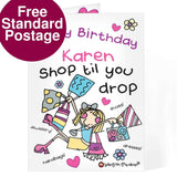 Personalised Bang On The Door Shop Till You Drop Card