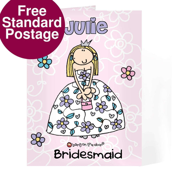Personalised Bang On The Door Wedding Girl Card