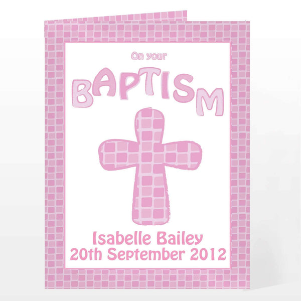 Personalised Baptism Card Pink