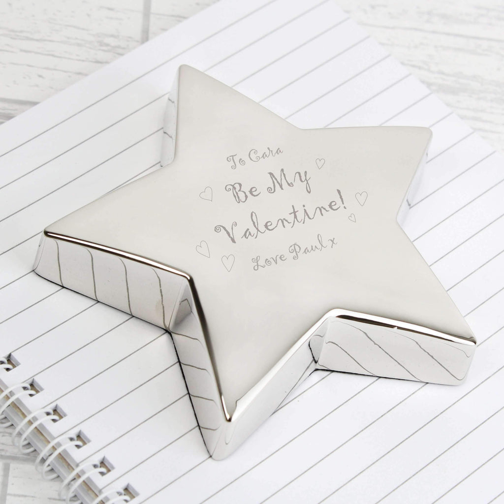 Personalised Be My Valentine Star Paperweight Memento