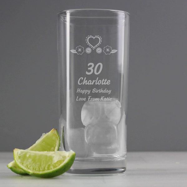 Personalised Birthday Craft Hi Ball Glass